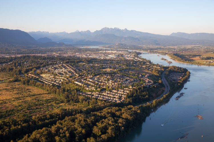 Aerial View of Port Coquitlam , BC.