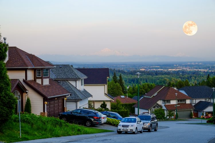 View of Coquitlam, British Columbia.